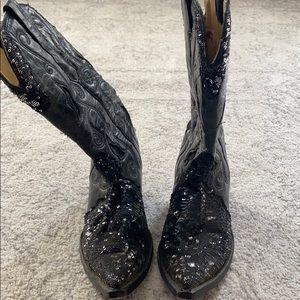 Black sequin boots